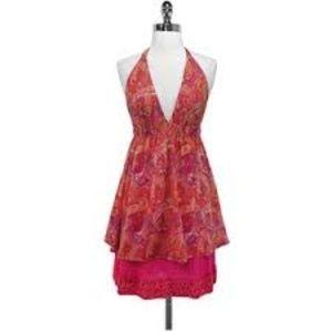 Alice & Olivia paisley pink halter dress